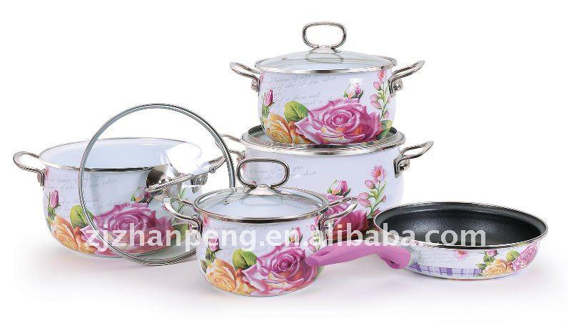 New design stainless steel handle porcelain enamel cookware