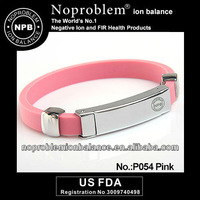 Noproblem P054 pink Ion Balance Germanium Energy Titanium Power Bracelet
