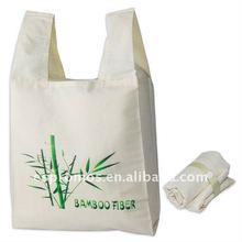 Eco-friendly bamboo fiber folding shopping bag with logo printed