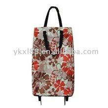 printing polyester and foldable shopping trolley bag with wheel