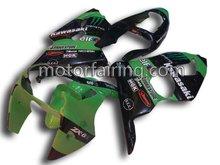 motorcycles kawasaki zx6r fairing kits with ABS material black/green body kit/fairing