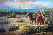 Lone Cowboy Horse Rider landscape painting-0188