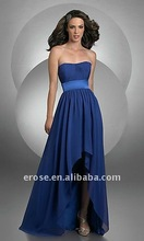 PD-C004 Elegant And Simple Royal Blue Chiffon Strapless Short Front Long Back Design Prom Dress