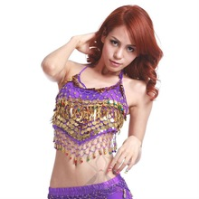 Chiffon Belly Dance Top with gold coins and beads for women dancers (SZ002)