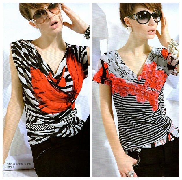 Dama de moda horizontal raya volante t - shirt con impresos