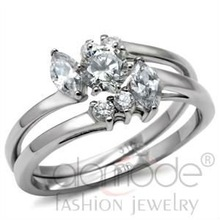 Fashion stainless steel cz wedding ring sets