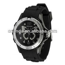 Hotsale Rhinestones Fashion Quartz Wristband Colorful Silicone Watch with Customs Logo