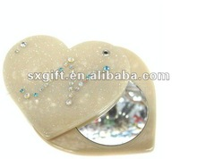 Portable mini acrylic pocket mirror , heart shape with diamond and glitter
