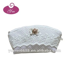 Hot sale!!!Promotional Lace and canvas good quality cosmetic bag