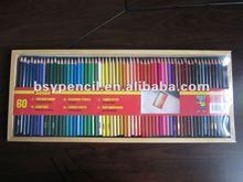 60 pcs cartoon color pencils in wooden box