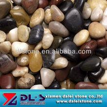 High polished, mixed color flat pebble river stone, natural pebble stone