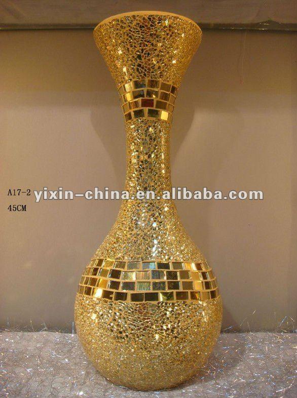 Home Decoration longstem Gold Glass Mosaik Vase wholesale