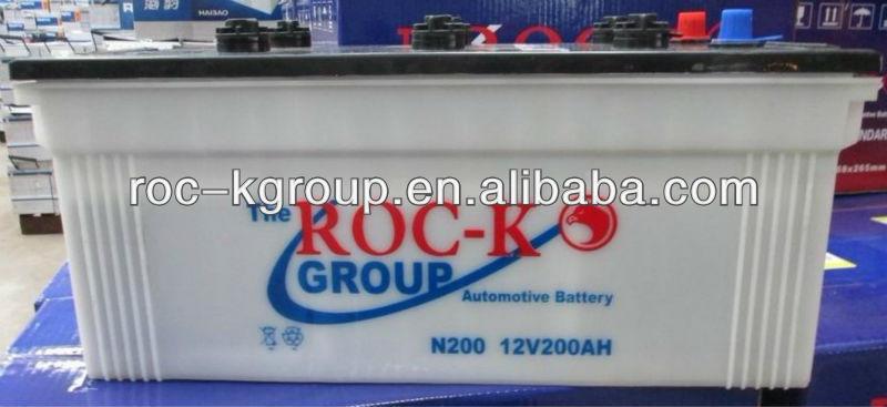 Dry charged lead acid car battery 200AH