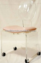 Clear/Wholesale/Luxuriant Acrylic living chair with wheels/furniture