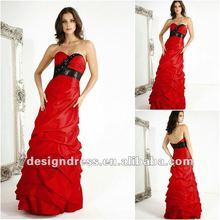 Beautiful and graceful red strapless swetheart neckline back open taffeta evening dress prom dress 2012 new design E5