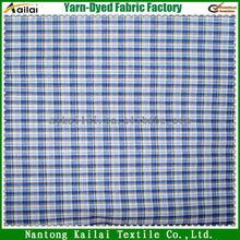 blue white check poplin for garments