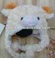Lindo marfil animal ovejas de la felpa sombrero , faux fur animal del sombrero del invierno