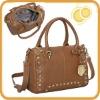 Pebble Leather Stud Trim Satchel sling bag brown
