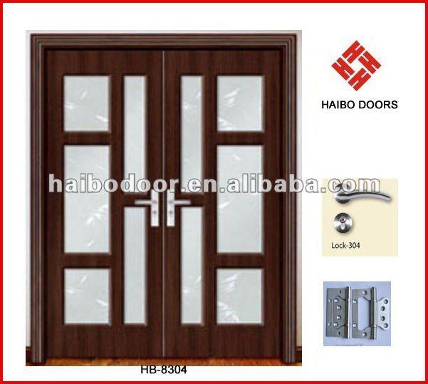 Interior del pvc de madera de doble hoja de la puerta de for Puertas doble hoja interior madera