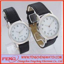 Quartz fashion lover pair watch alloy metal leather strap