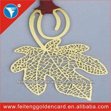 Fancy brass metal maple leave souvenir/metal bookmark
