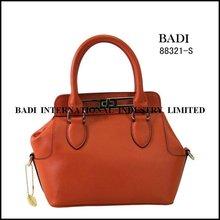 guangzhou orange tote leather lady bag small size metal lock handbag logos design