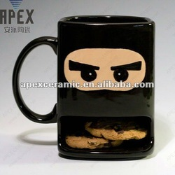 Cool Coffee Mug With Cookie Holder, Stoneware Biscuit Mug (CS-1203A)