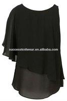 Ladies black joker single cuff irregular shawls top
