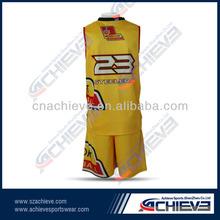 shiny yellow custom basketball uniforms with high quality