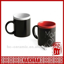 Ceramic chalk mug, mug with blackboard, write on coffee mug