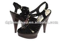 metal flower decoration high heel dress shoes