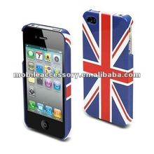 UV Coating and rubber phone case with England Flag for iphone 4 4s
