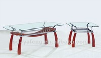 Mirror coffee table glass side table with wood D303