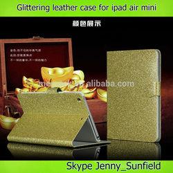 Tablet case cover Glittering super slim flip leather case for ipad mini ,for ipad mini case leather ,for ipad case mini air