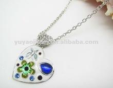 Double heart pendant necklace,Rhinestone ornament ladies necklace,Fashion jewelry