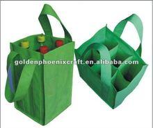 Foldable Green 6/4Pcs Bottle Non Woven Tote Bag