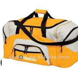 Large gold/gray sport duffel bag, 600D ployester