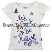 Sales Promotion 100% cotton embroider kids t shirt clothes shop decoration