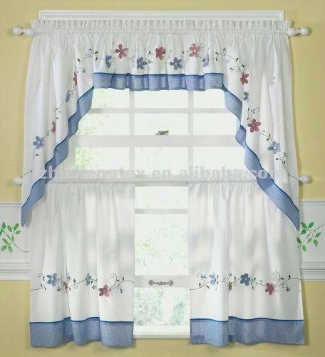 Cortina Baño Elegante:Elegante poliéster Emboridery cortina de la cocina-Cortina