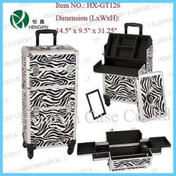 zebra aluminium cosmetic case rolling cosmetic vanity case trolley beauty case
