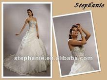 A6235 Stephanie Ruffle Organza Skirt Beaded Wedding Dress 2012