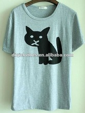 round collar cat print organic cotton t shirts hot sale