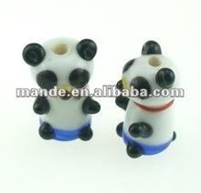 Beads Handmade Lampwork glass, white and black and blue panda