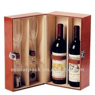 luxury wooden wine box with cup for two bottle