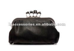 2012 Fashion disigner crazy hot black Punk skull gem finger clutch bag/handbag for women