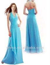 Ev-h047 Attractive Halter drapée en mousseline de soie longue bleu Simple robe de soirée 2012 date