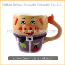 3D Hand-Painted Ceramic Animal Pig Mug