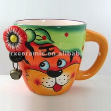 Hand-Painted Ceramic Tiger With Ear Ring Mug