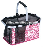 Pet travel carrier/basket with metal handle