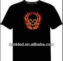 2012 popular ,Fire ghost Sound Actived Equalizer el t shirt